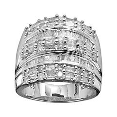Sterling Silver 2 ctT.W. Diamond Multirow Ring