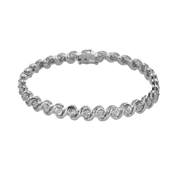 Sterling Silver 1 2 Ct T W Round Cut Diamond Tennis Bracelet