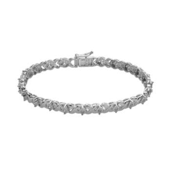 Sterling Silver 1/2-ct. T.W. Diamond X Tennis Bracelet