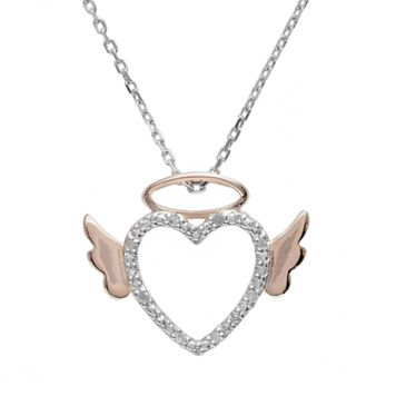 18k Rose Gold Over Silver & Sterling Silver Diamond Accent Angel Heart Pendant
