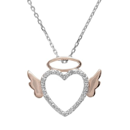 18k Rose Gold Over Silver and Sterling Silver Diamond Accent Angel Heart Pendant