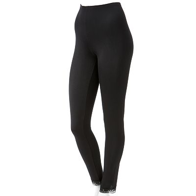 Cuddl Duds Softwear Lace-Trim Leggings - Women's Plus
