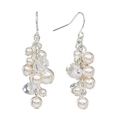 Croft and Barrow Silver Tone Simulated Pearl and Bead Cluster Drop Earrings