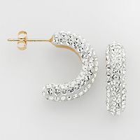 Gold 'N' Ice 10k Gold Crystal C-Hoop Earrings - Made with Swarovski Crystals