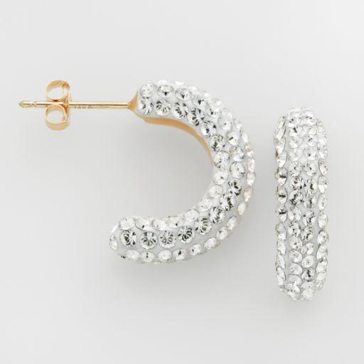Gold 'N' Ice 10k Gold Crystal C-Hoop Earrings - Made with Swarovski Crystals