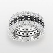 Sterling Silver Cubic Zirconia Eternity Band Ring Set
