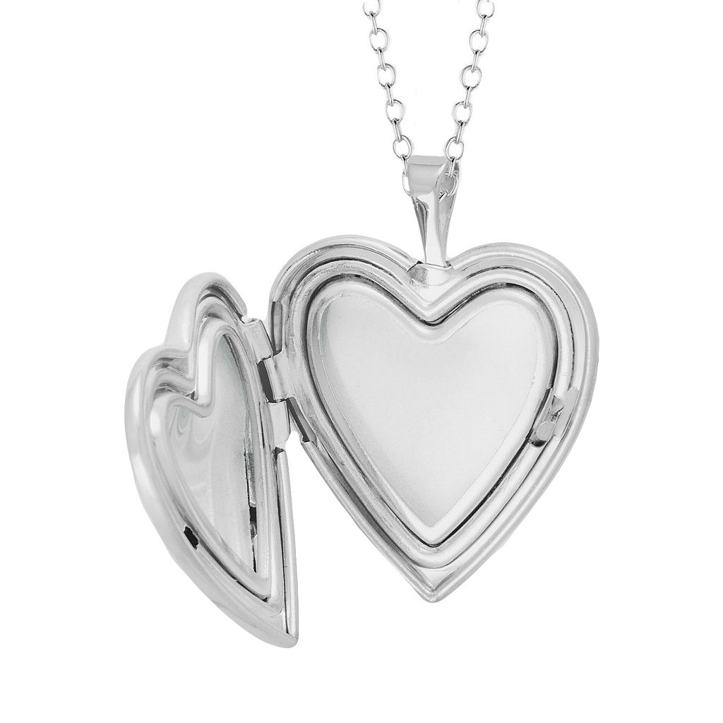 Sterling Silver Diamond Accent Heart Locket