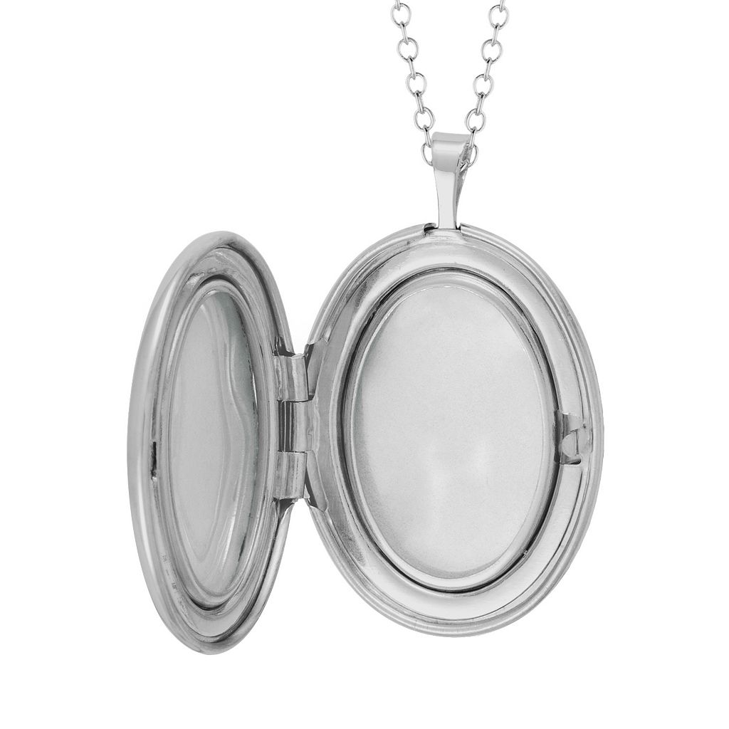 Sterling Silver Diamond Accent Oval Locket