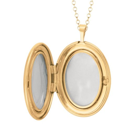 14k Gold Over Silver Diamond Accent Oval Locket