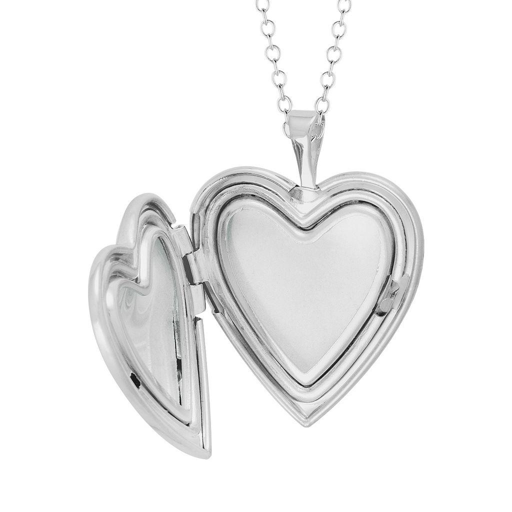 Sterling Silver Flower Heart Locket