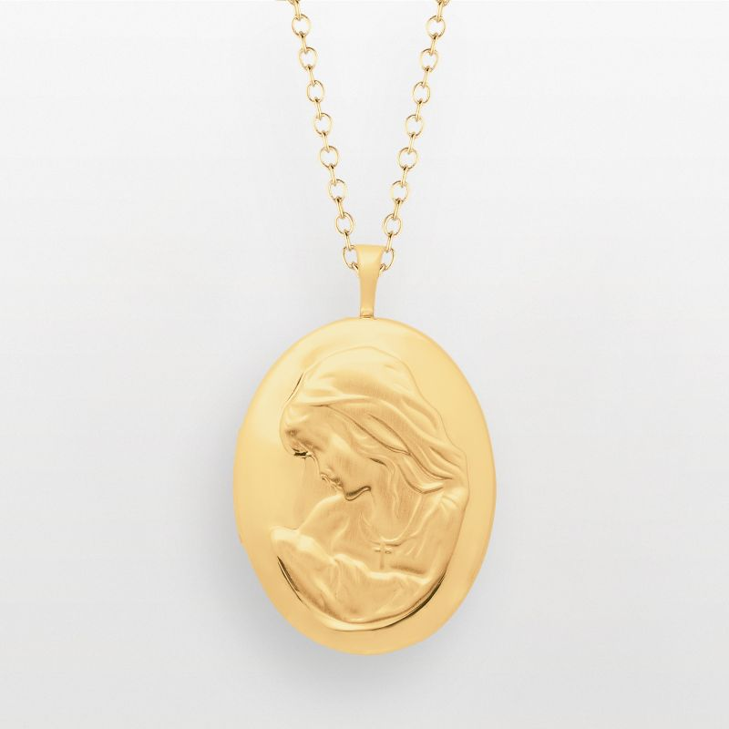 14k Gold Over Silver Oval Mom Locket