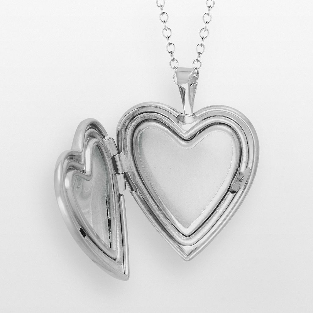 Sterling Silver Butterfly Flower Heart Locket