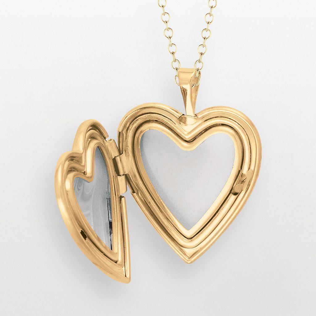14k Gold Over Silver Butterfly Flower Heart Locket