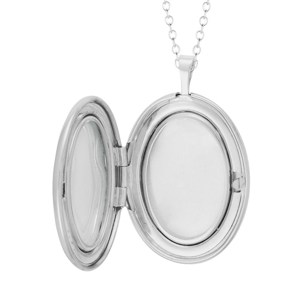 Sterling Silver Oval Scroll Locket