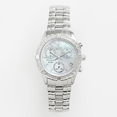 Citizen Eco-Drive Miramar Stainless Steel Diamond Accent and Mother-of-Pearl Chronograph Watch - FB1180-56D - Women