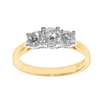 14k Gold 1-ct. T.W. Certified Round-Cut Diamond 3-Stone Ring