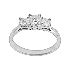 Round-Cut Certified Diamond 3-Stone Engagement Ring in 14k White Gold (1 ct. T.W.)