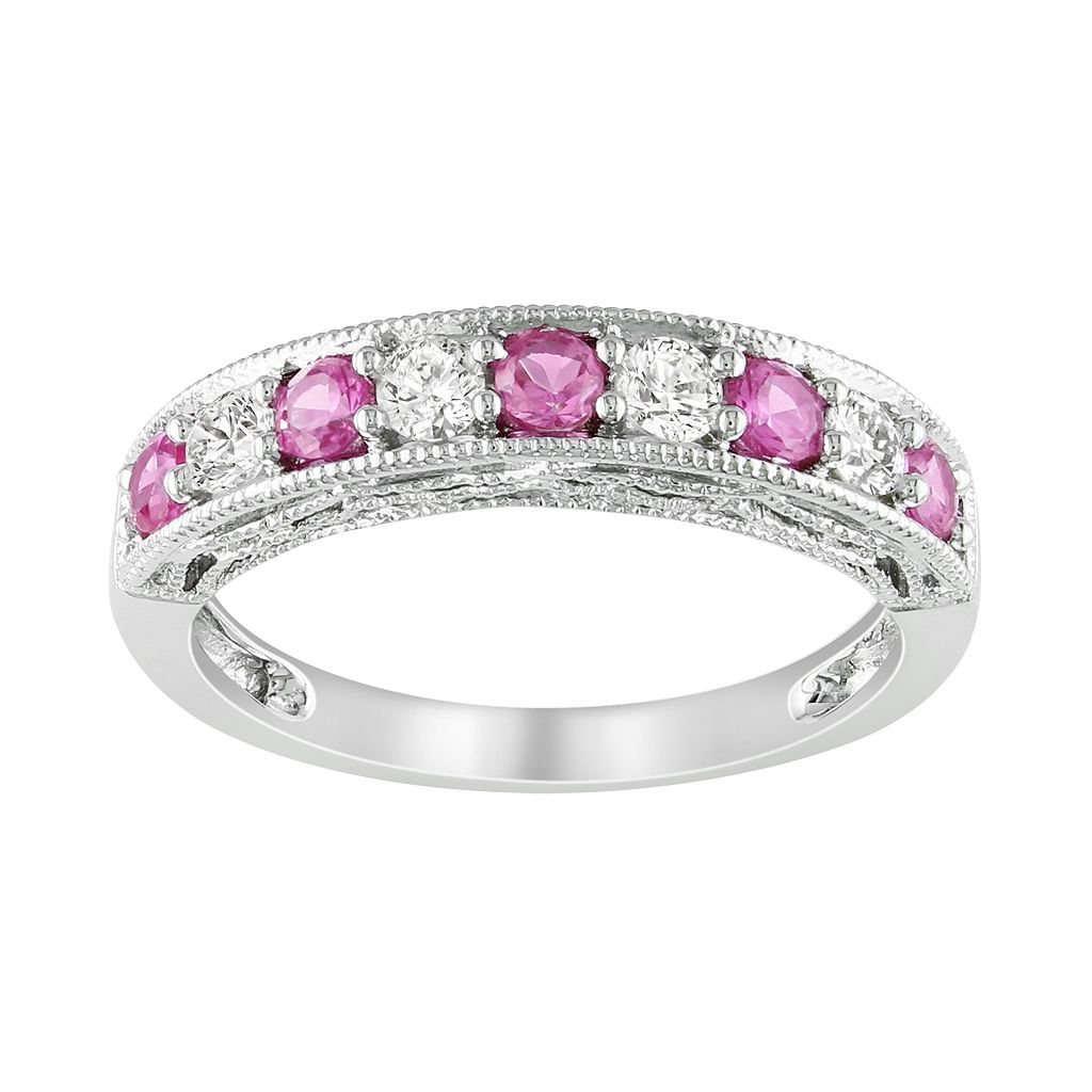 Sterling Silver Lab-Created Pink & White Sapphire Stack Ring