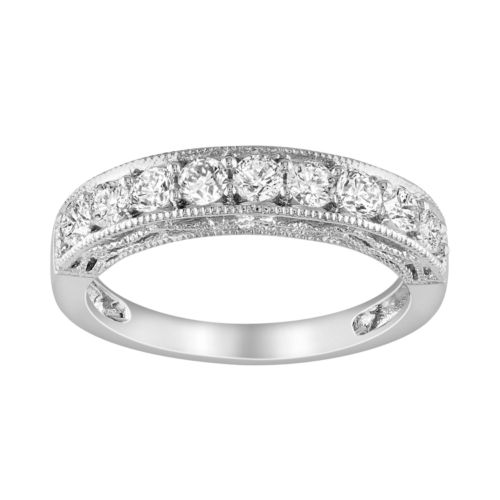 Sterling Silver Lab-Created White Sapphire Stack Ring
