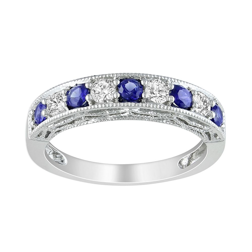 Stella Grace Sterling Silver Lab-Created Blue and White Sapphire Stack Ring