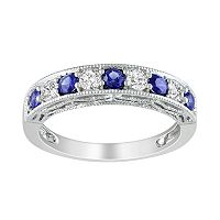 Sterling Silver Lab-Created Blue & White Sapphire Stack Ring