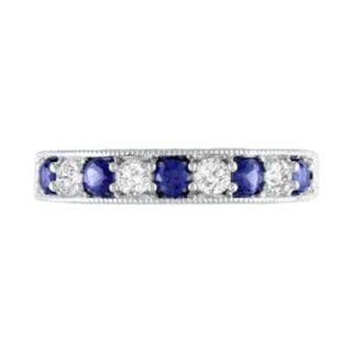Sterling Silver Lab-Created Blue and White Sapphire Stack Ring