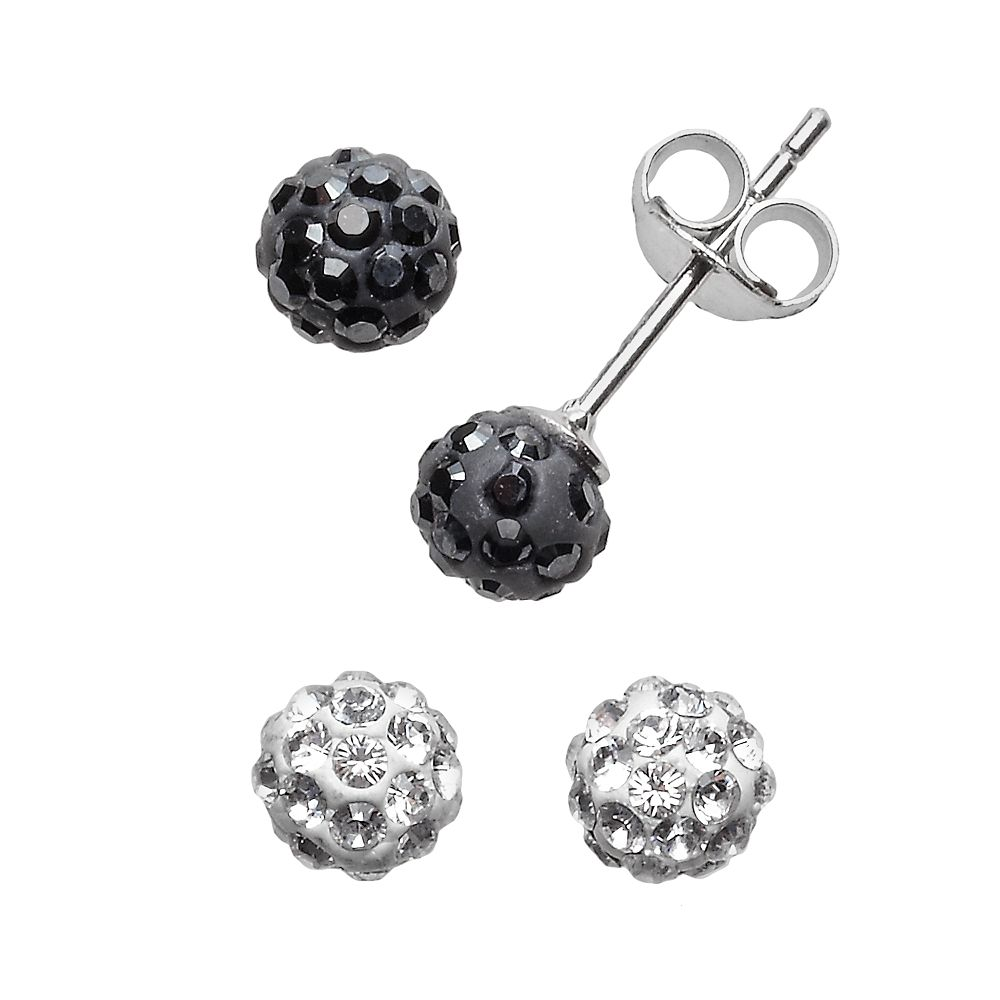 Sterling Silver Crystal Ball & Stud Earring Set - Made with Swarovski Crystals