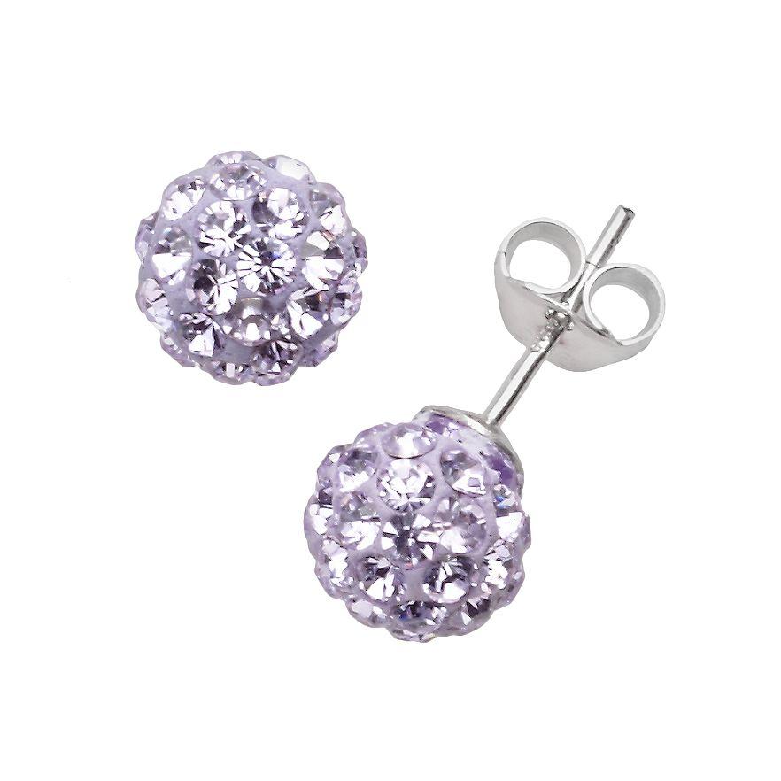 Purple Crystal Ball Stud Earrings Made With Swarovski Crystals