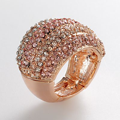 ELLE BIJOUX Rose Gold Tone Simulated Crystal Stretch Ring