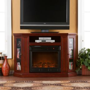Abbey Cherry Finish Convertible Media Console Electric Fireplace