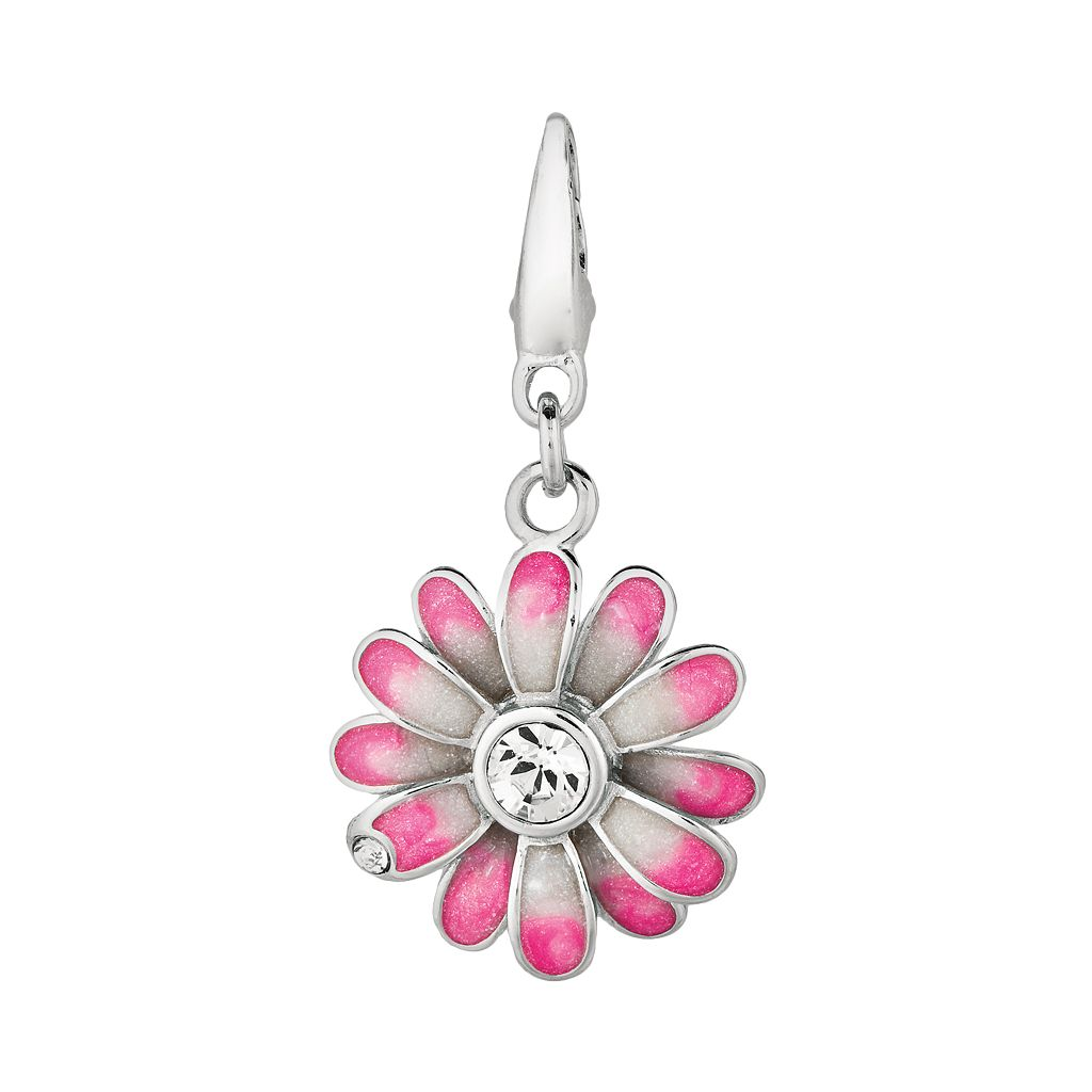 Sterling Silver Cubic Zirconia Flower Charm