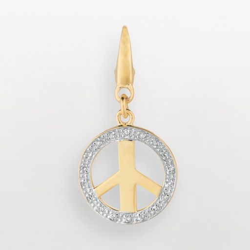 14k Gold Over Silver Diamond Accent Peace Sign Charm