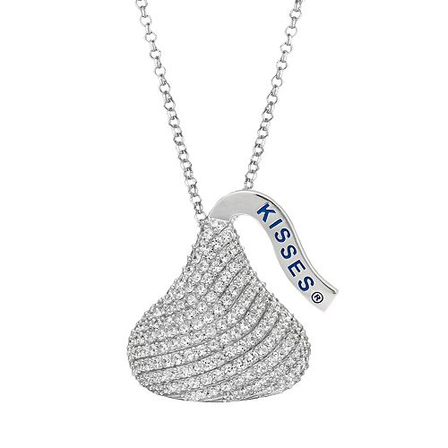 Rhodium-Plated Sterling Silver Cubic Zirconia Hershey's Kiss Pendant