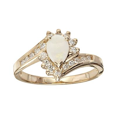 10k Gold Opal and Diamond Accent Bypass Ring
