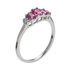 10k White Gold Ruby and Diamond Accent 3-Stone Ring