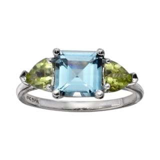 10k White Gold Blue Topaz and Peridot 3-Stone Ring