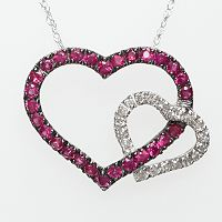 10k White Gold Ruby & Diamond Accent Heart Pendant