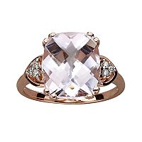 10k Rose Gold Rose de France & Diamond Accent Ring