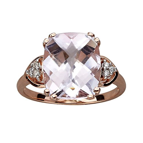 10k Rose Gold Rose de France & Diamond Accent Ring