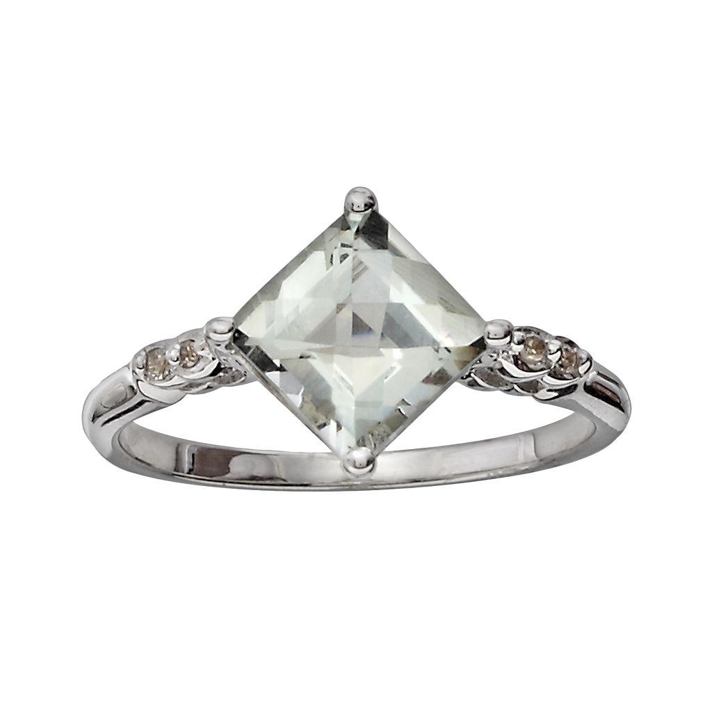 10k White Gold Green Quartz & Diamond Accent Ring