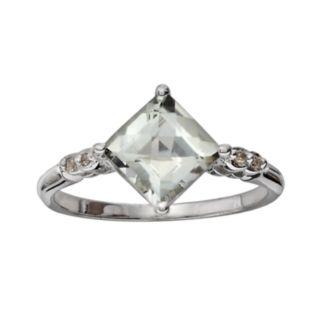 10k White Gold Green Quartz and Diamond Accent Ring