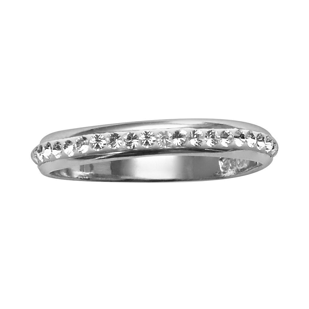 Sterling Silver Crystal Ring - Made with Swarovski Crystals