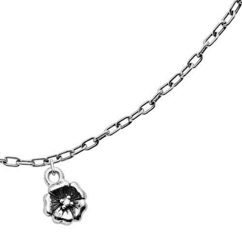 Lyric Sterling Silver Diamond Accent Flower Charm Bracelet
