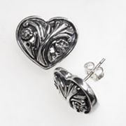 Sterling Silver Diamond Accent Heart Flower Button Stud Earrings