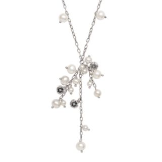 Lyric Sterling Silver Freshwater Cultured Pearl Drop and Diamond Accent Necklace
