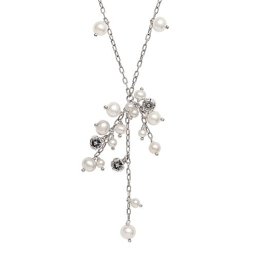 Lyric Sterling Silver Freshwater Cultured Pearl Drop & Diamond Accent Necklace