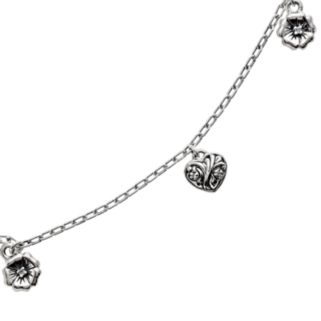 Lyric Sterling Silver Diamond Accent Flower and Heart Charm Bracelet
