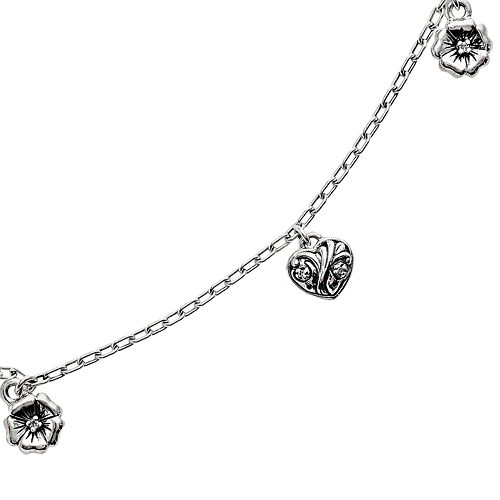 Lyric Sterling Silver Diamond Accent Flower & Heart Charm Bracelet