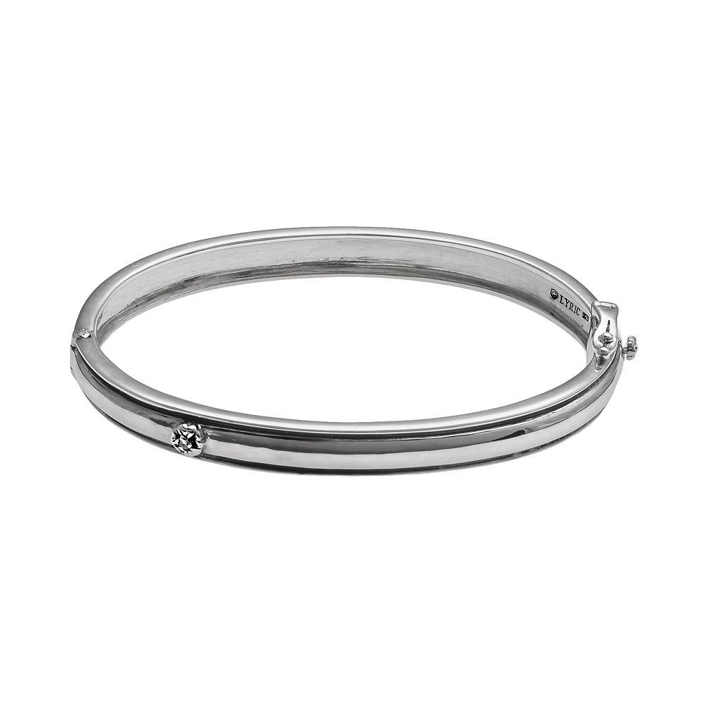 Lyric Sterling Silver Diamond Accent Flower Bangle Bracelet - 2 3/4-in. width