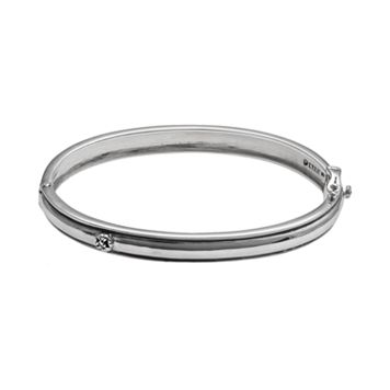 Lyric Sterling Silver Diamond Accent Flower Bangle Bracelet - 2 3/4-in. width